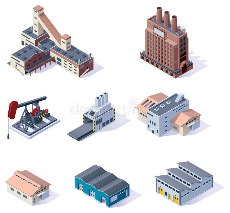 Vector isometric buildings. Industrial vector illustration