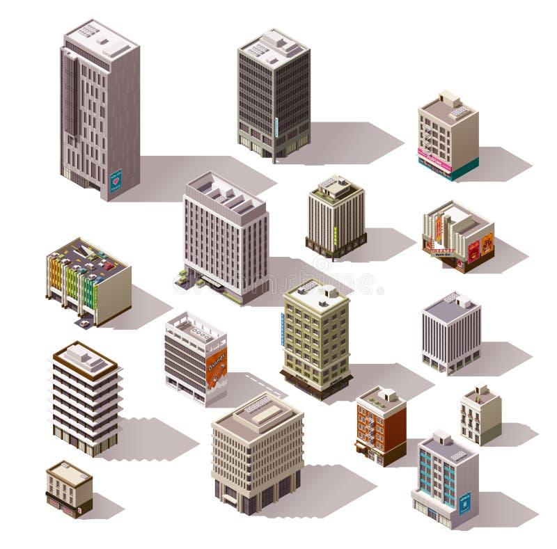 Vector isometric buildings set vector illustration