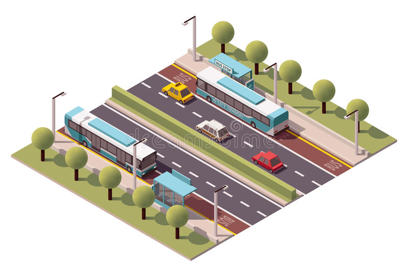 Vector isometric bus stop vector illustration