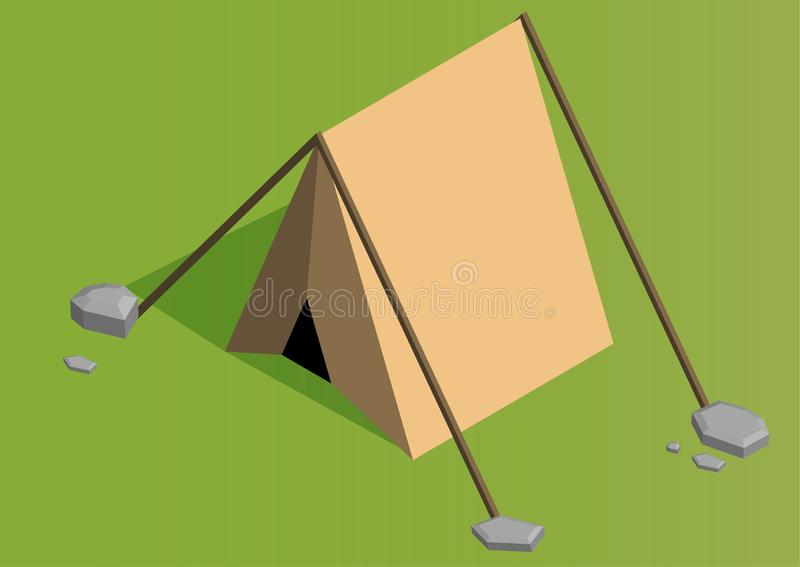 Vector isometric camping tent icon. Triangle orange tourist tent made in low poly style vector illustration