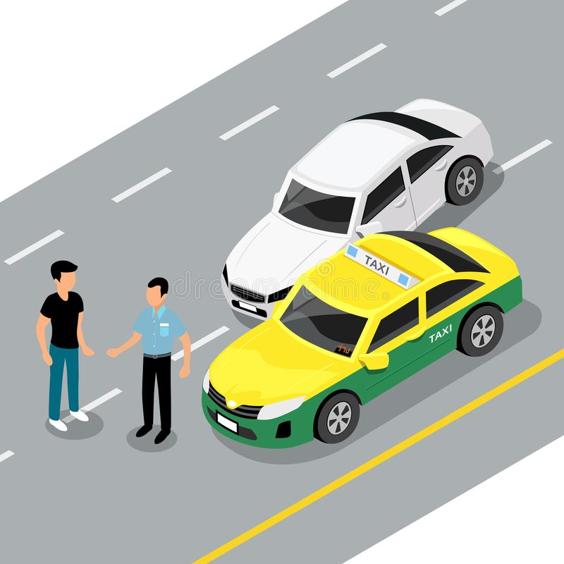 Vector isometric car accident on road, vector illustration stock illustration