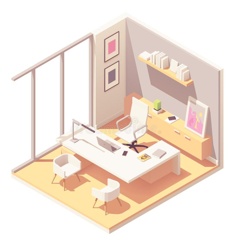 Vector isometric CEO office interior royalty free illustration