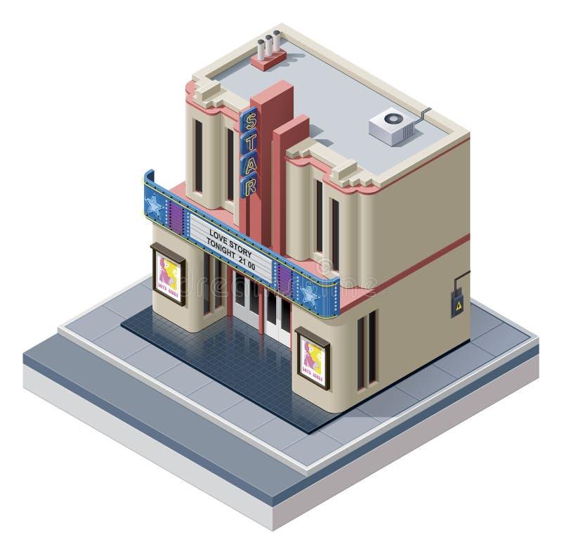 Vector isometric cinema building vector illustration