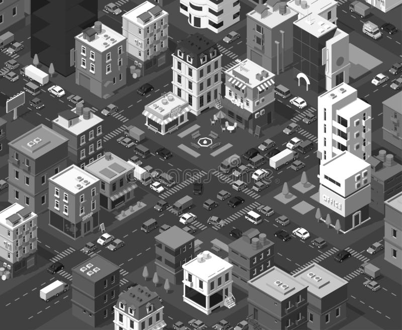 Vector isometric city. Black and white town district. Street Intersection road 3d. Very high vector detail monochromatic. Vector isometric city. Black and white stock illustration