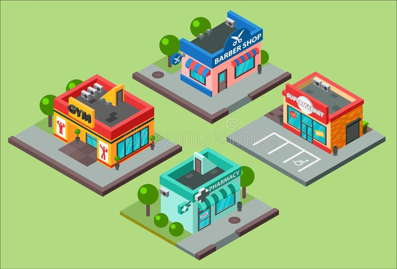 Vector isometric city buildings kiosk convenience store supermarket. Barbershop, pharmacy, beauty salon, fitness gym and royalty free illustration