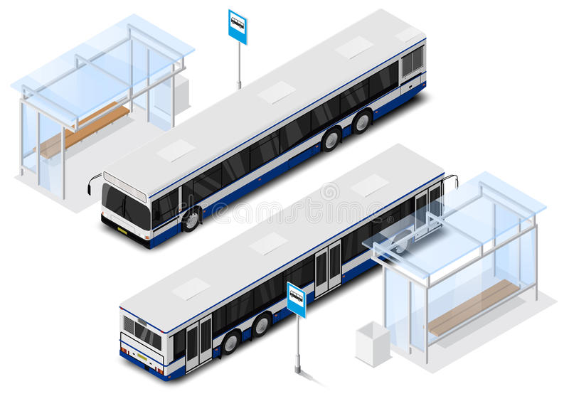 Vector isometric city bus illustration. Transport Icon. stock image