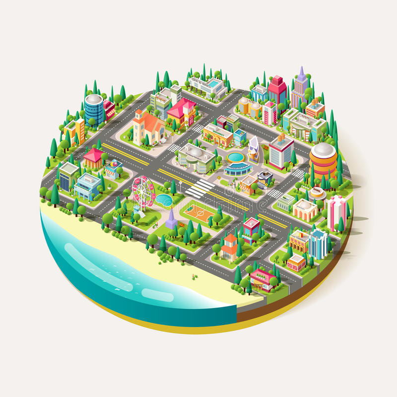 Vector Isometric city business center vector illustration