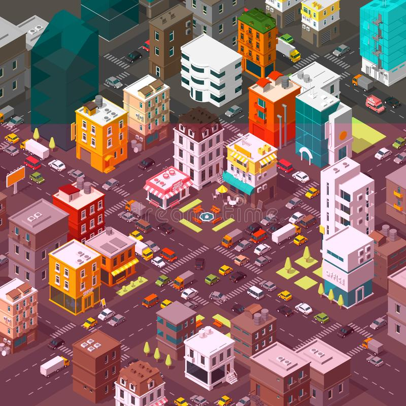 Vector isometric city. Cartoon town district. Street Intersection road 3d. Very high detail projection. Cars end stock illustration