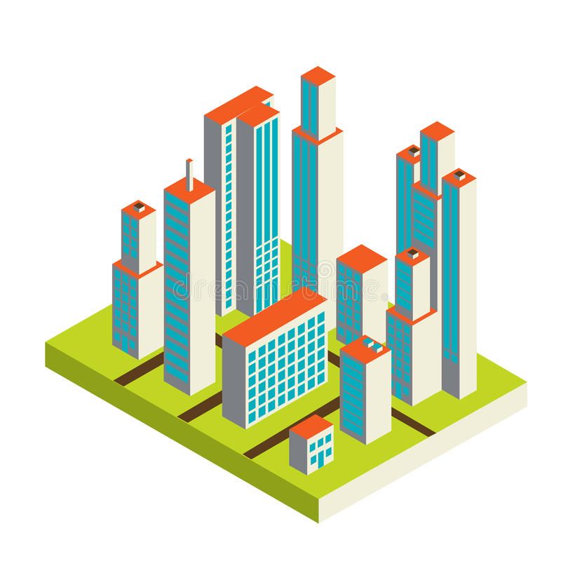 Vector isometric city center on the map with lots royalty free illustration