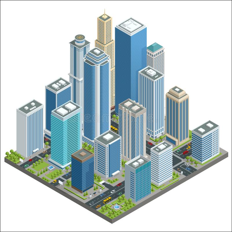 Vector isometric city center map with skyscrapers, offices, stores, streets, vehicles, commercial and business area used vector illustration