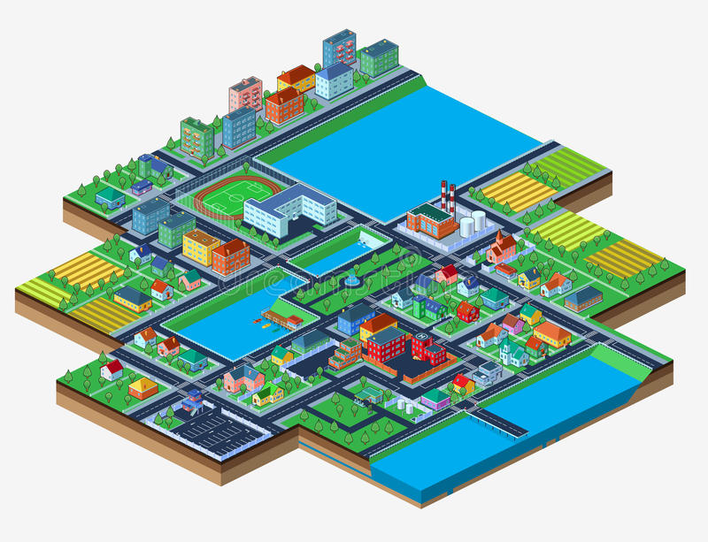 Vector isometric city isolated on white with lots of buildings. Vector.Colorful isometric city with lots of buildings. Isolated on white. Bird's-eye view vector illustration