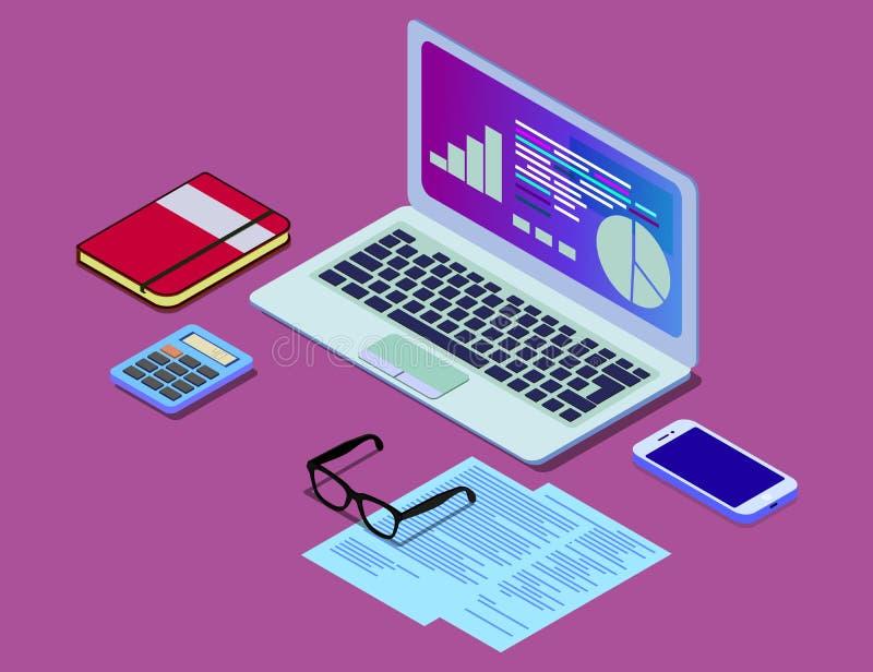 Vector isometric concept illustration of office work station. Desktop computer, glasses, phone, diagram, keyboard stock illustration