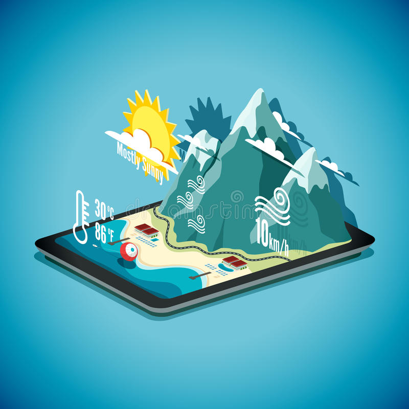 Vector isometric concept of weather forecast program on tablet P vector illustration