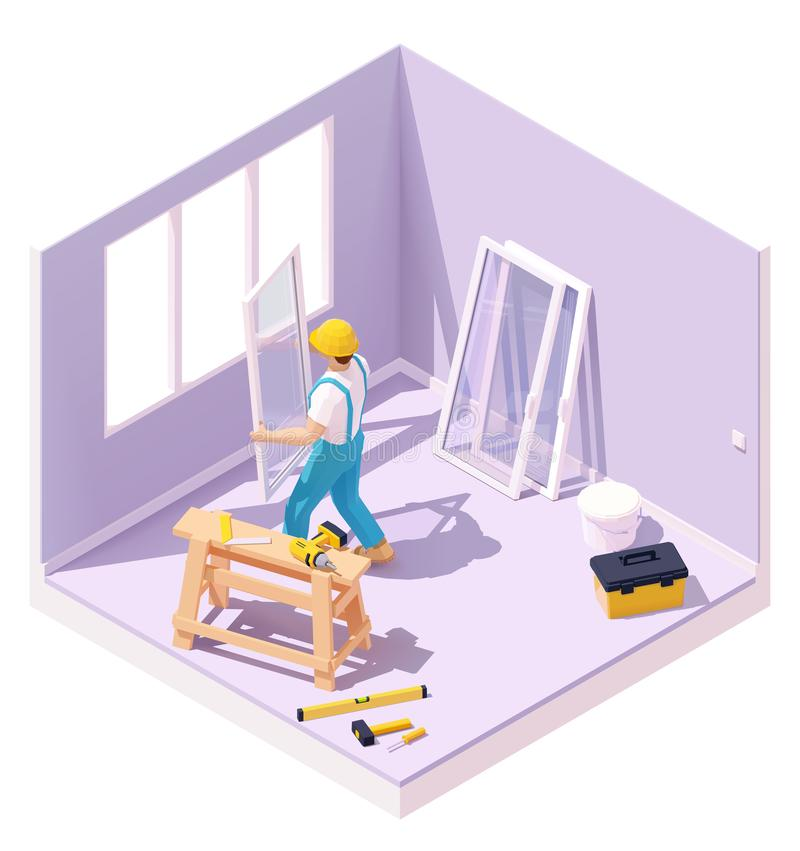 Vector isometric worker at windows installation. Vector isometric construction worker holding new white window at windows installation. Home room interior stock illustration