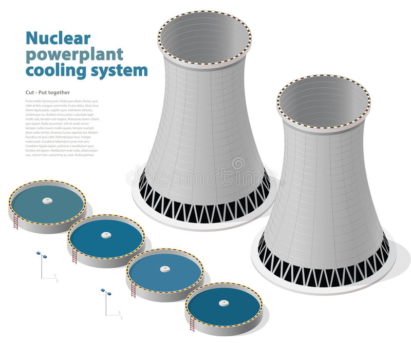 Vector isometric cooling system, nuclear power plant, white background. royalty free illustration