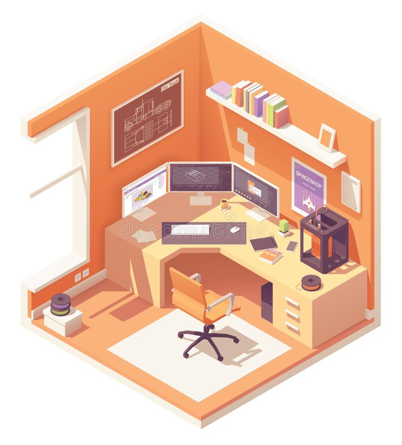 Vector isometric 3d artist workplace vector illustration