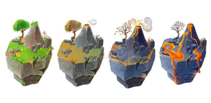 Vector isometric 3d fantasy island set game design vector illustration