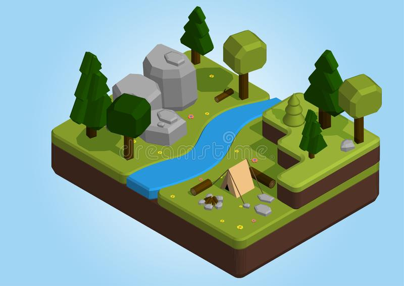 Isometric 3d low poly elements in the camping site. Vector isometric 3d low poly elements in the camping site stock illustration