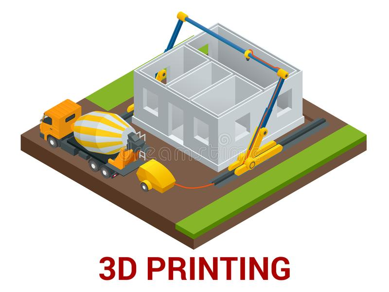 Vector isometric 3d printing house concept. Concrete mixer truck in the side of industrial 3D printer which printing royalty free illustration