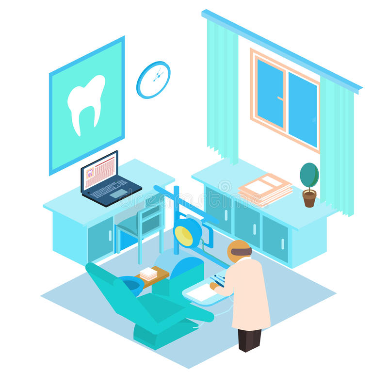 Vector isometric dental clinic. Color illustration royalty free stock photos