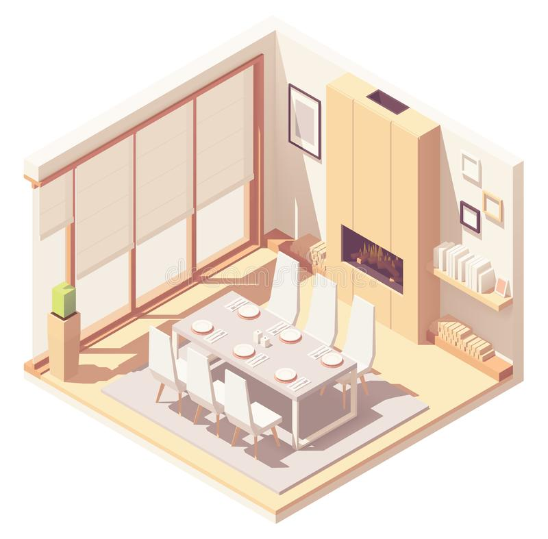 Vector isometric dining room interior stock illustration