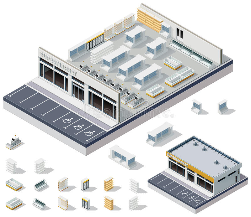 Vector isometric DIY supermarket interior plan royalty free illustration