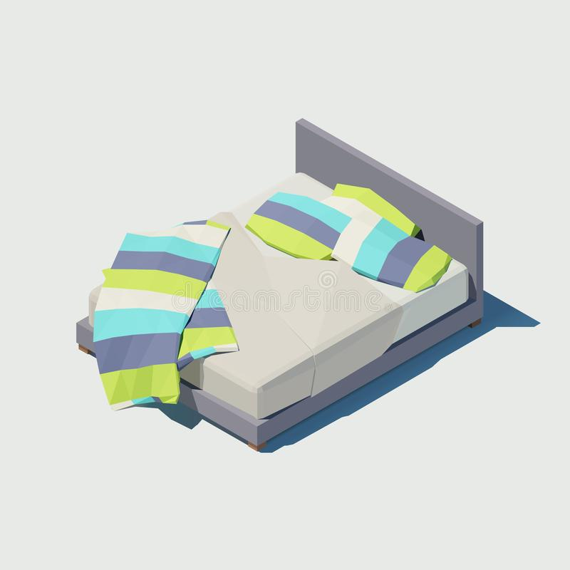 Vector isometric double bed with colorful pillows royalty free illustration