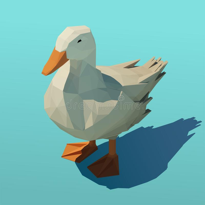 Vector isometric duck standing in shallow water. Low poly 3d vector illustration stock illustration