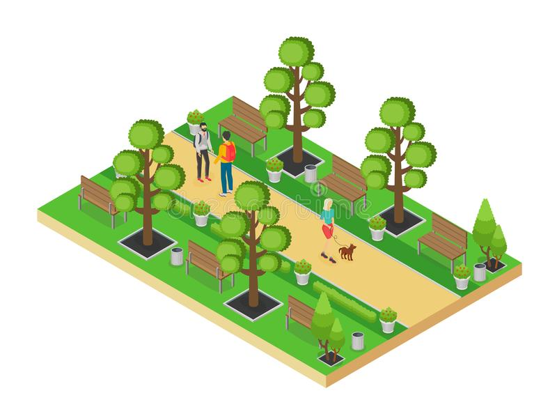 Vector isometric element of green park with alley and people walking isolated on white background. royalty free illustration