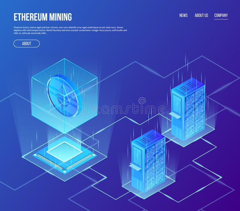Vector isometric concept of ethereum blockchain mining. Crypto currency ethereum coin in transparent cube above stock illustration