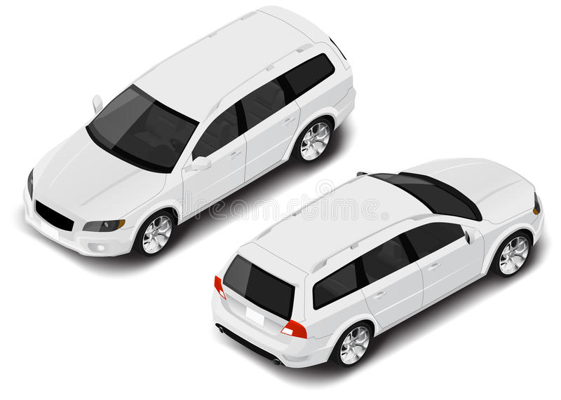 Vector isometric family car icon. Transport for infographics royalty free illustration
