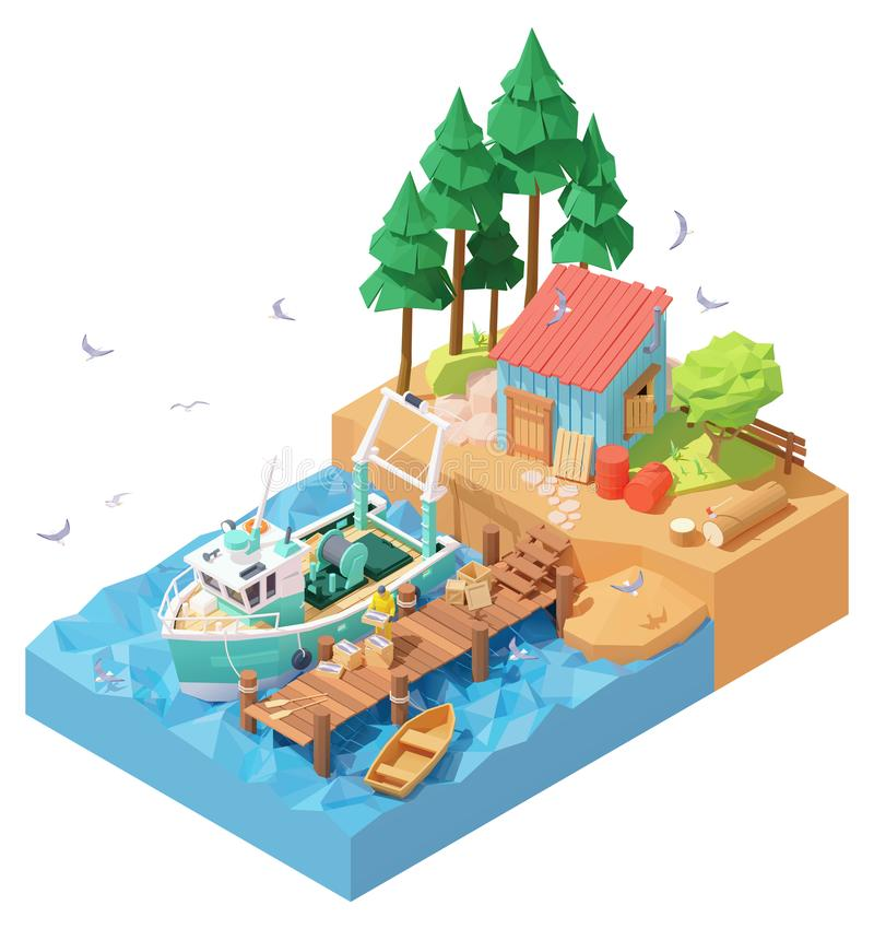 Free Vector Isometric Fisherman Unloading Catch From Trawler On Pier Royalty Free Stock Photos - 165567958