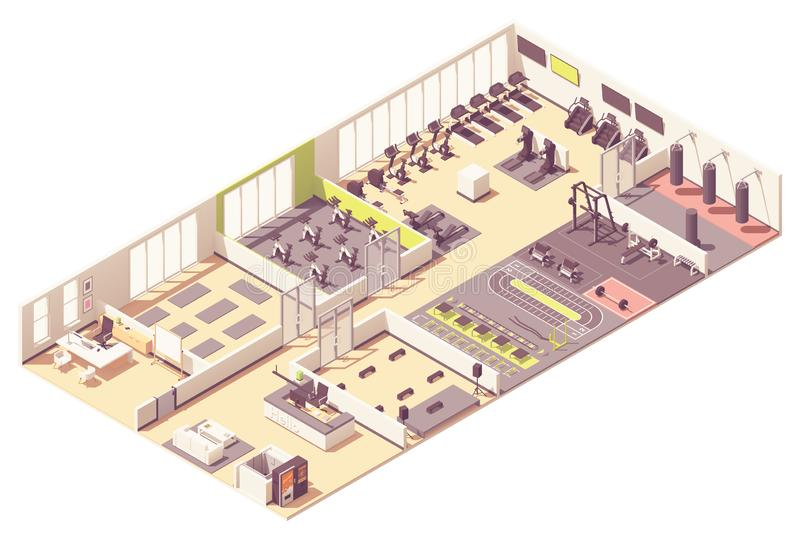 Vector isometric fitness club or gym interior royalty free illustration