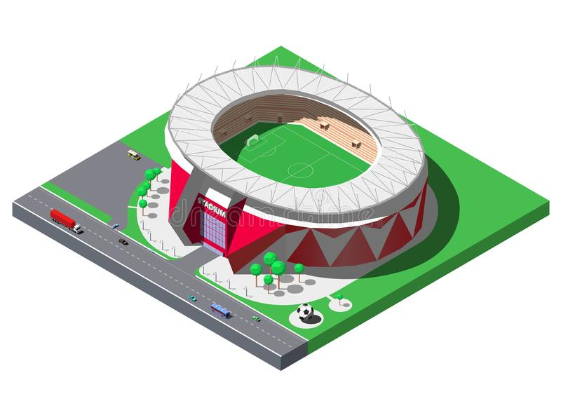 Vector isometric football stadium, soccer arena with trees and parking lot royalty free illustration