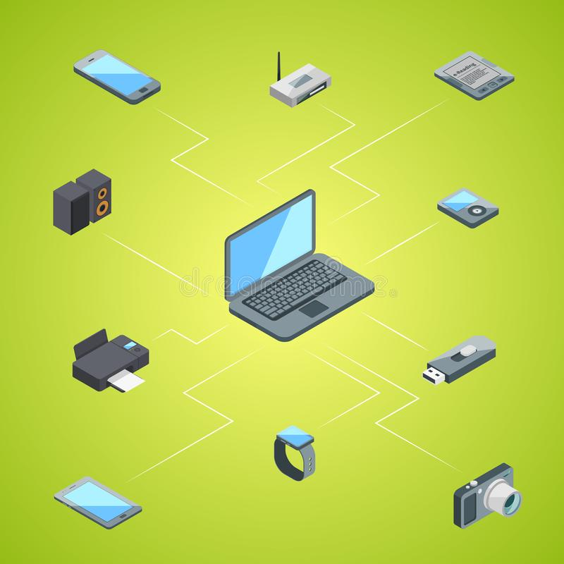 Vector isometric gadgets icons infographic concept illustration stock illustration
