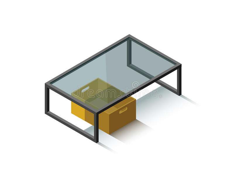 Vector Isometric glass coffee table royalty free stock image