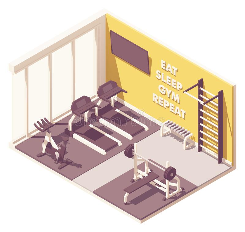 Vector isometric gym interior stock illustration