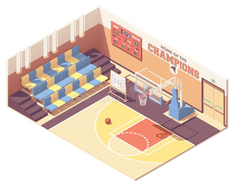 Vector isometric gymnasium basketball court. Vector isometric school, college or university gymnasium basketball court interior cross-section. Rows of seats royalty free illustration