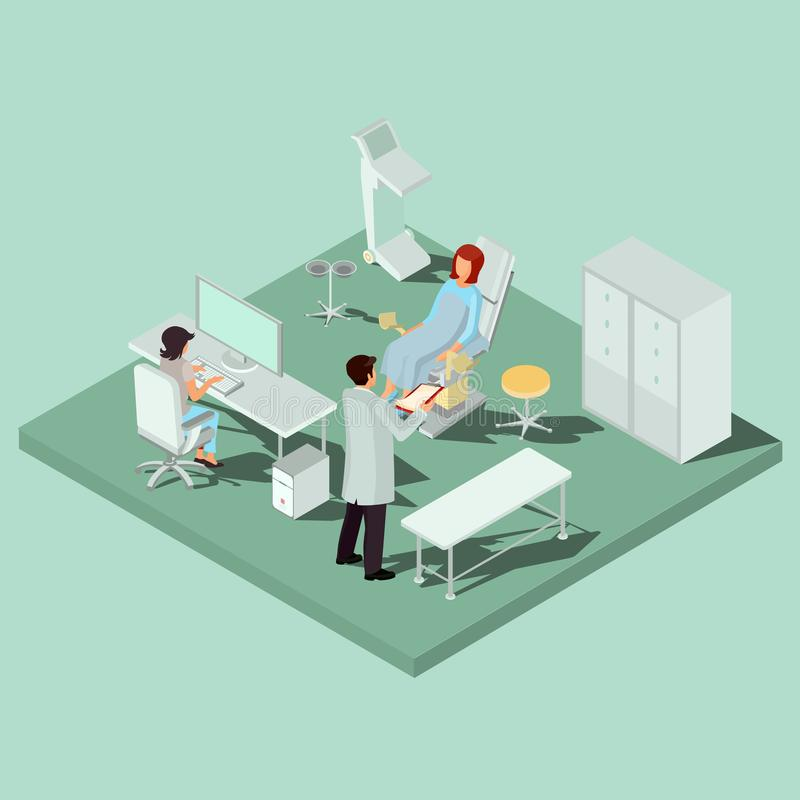 Vector isometric gynecology room with gynecological chair, medical personnel and patient stock illustration