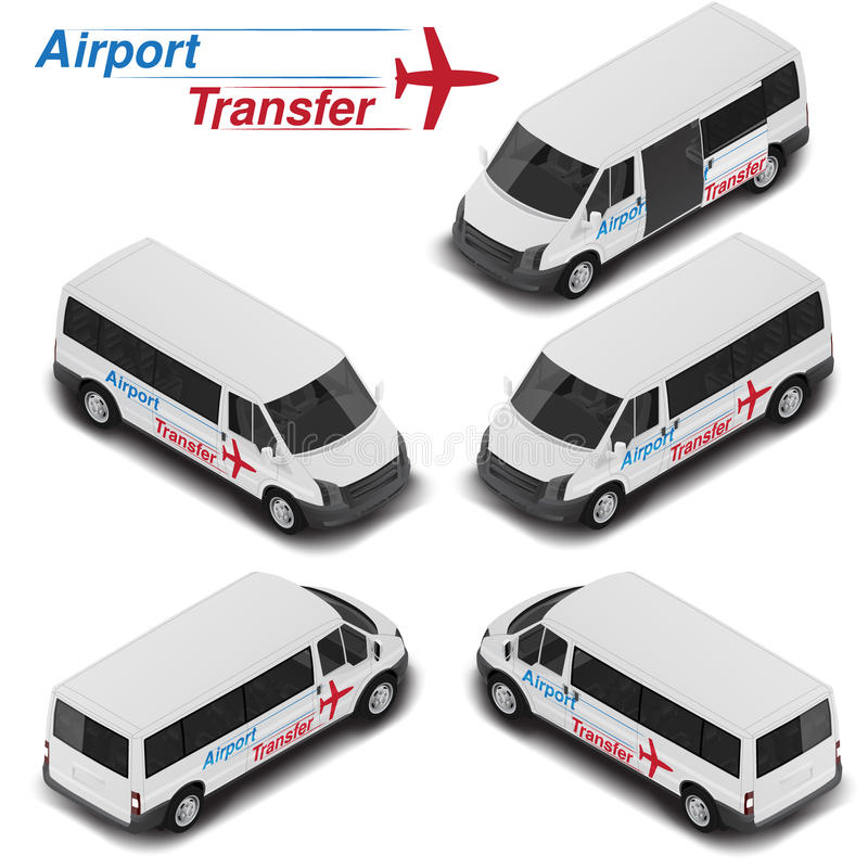Vector isometric high quality passanger van for airport transfer. Transport icon vector illustration
