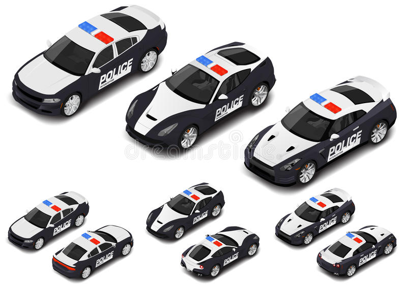 Vector isometric high quality police sport car set. Police icon. stock illustration