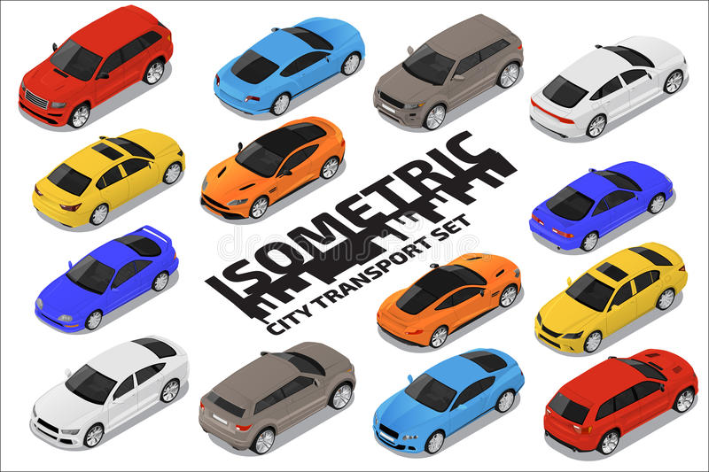 Vector isometric high quality transport set. Car icons royalty free illustration