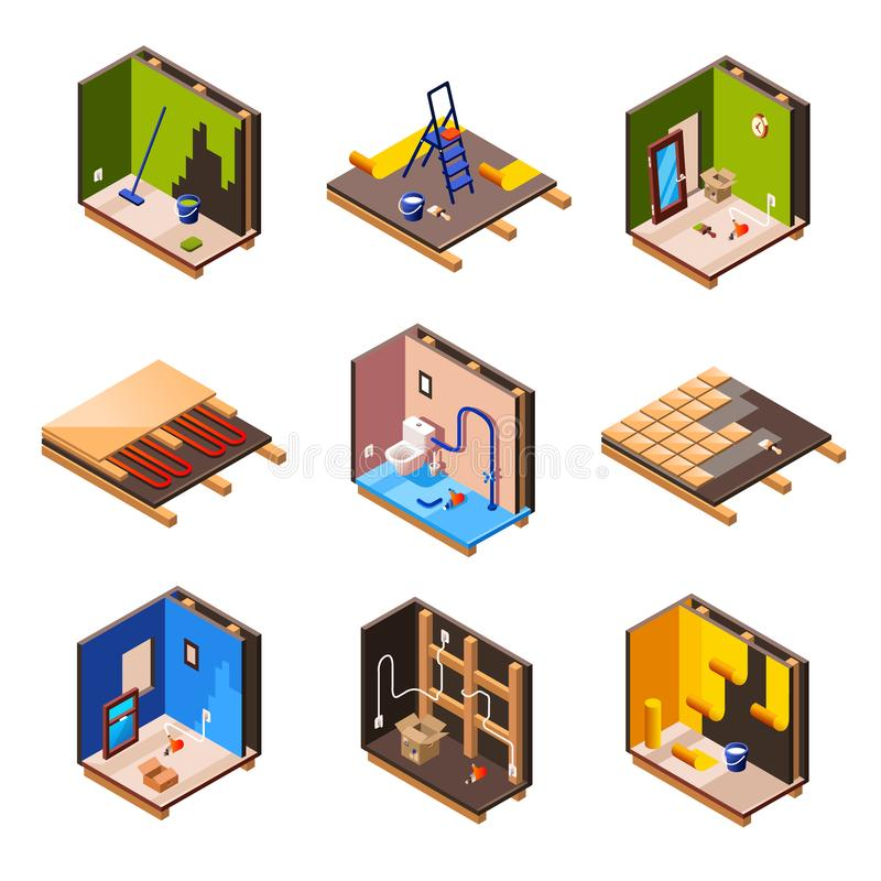 Vector isometric home renovation, repair set. Vector isometric home interior renovation and repair work process stages in house cross section. Plumbing sanitary royalty free illustration