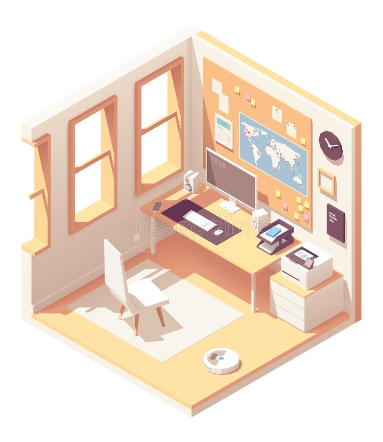 Vector isometric home office room vector illustration