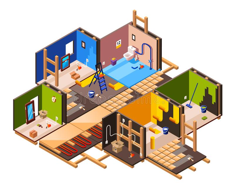Vector isometric home renovation, repair set. Vector isometric home interior renovation and repair work process stages in house cross section. Plumbing, sanitary stock illustration
