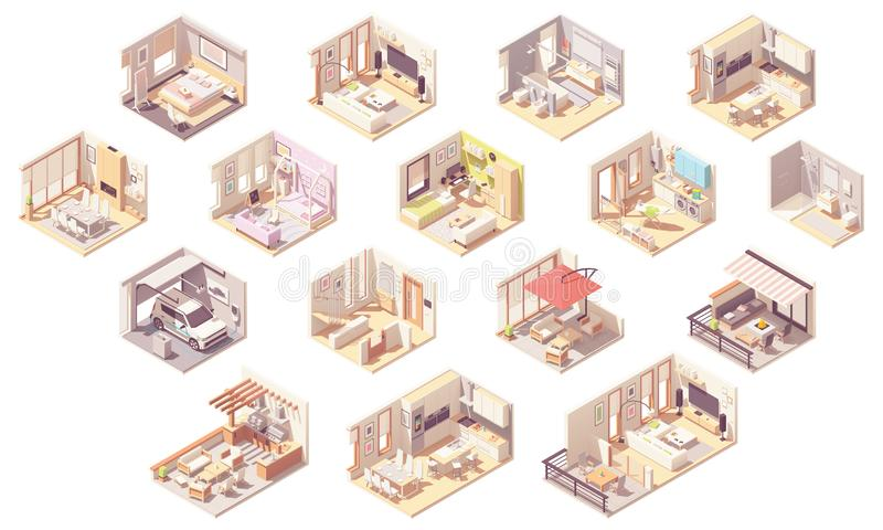 Vector isometric home rooms. Living room, bedroom, bathroom, balcony and terrace, hall, garage, dining and kitchen, pergola and other royalty free illustration