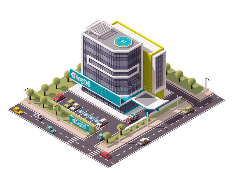 Vector isometric hospital royalty free illustration