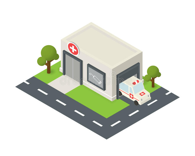 Vector isometric hospital building icon. With emergency car stock illustration
