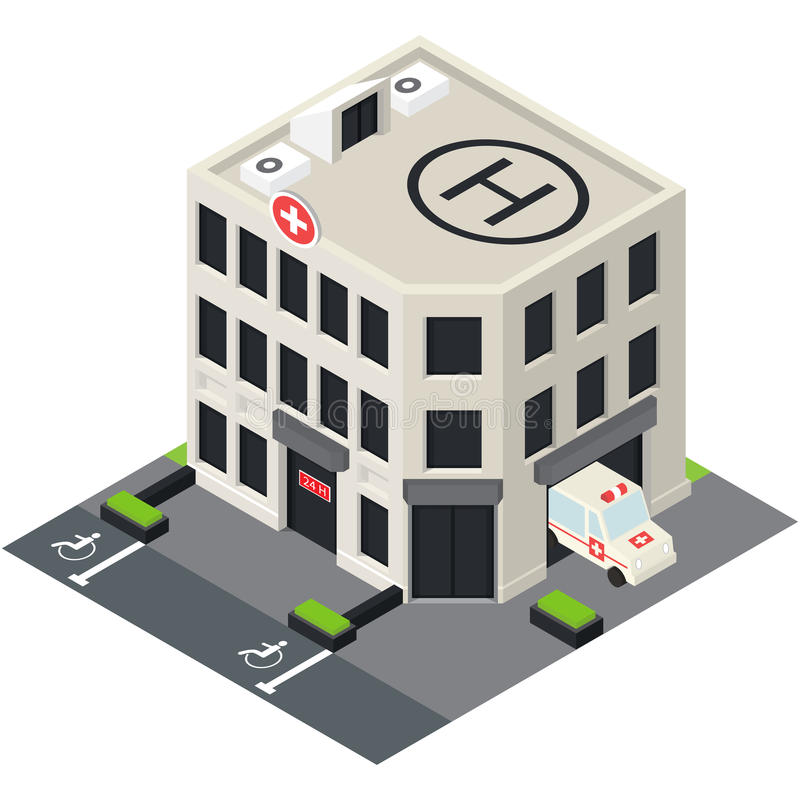 Vector isometric hospital building icon. With emergency car and helipad on the roof stock illustration