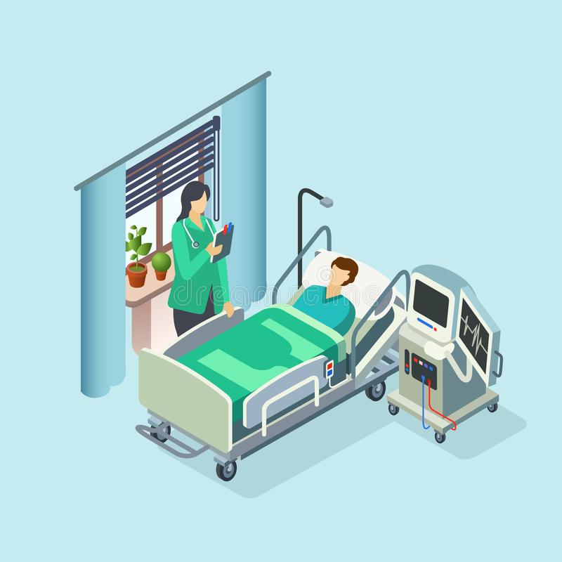 Vector isometric hospital room, patient, doctor. Vector isometric modern hospital room, ward with male patient in bed, female doctor standing holding clipboard stock illustration